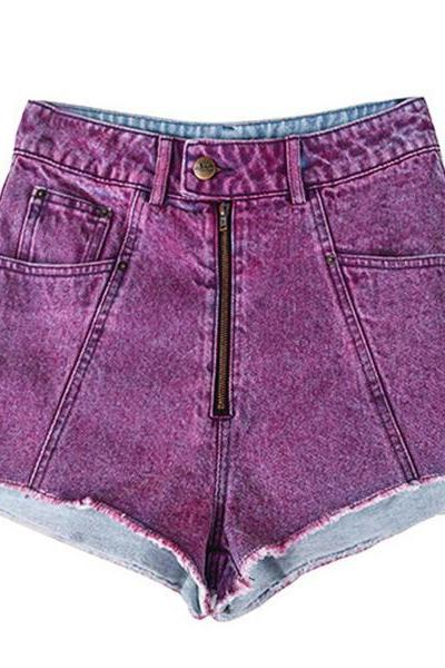 Water Wash Denim Pure Color Regular Shorts