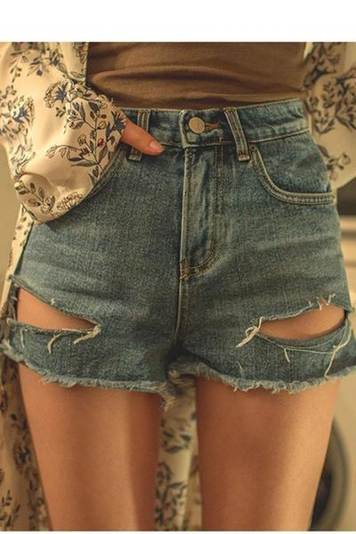 Hole Pure Color Denim Pocket Loose Shorts