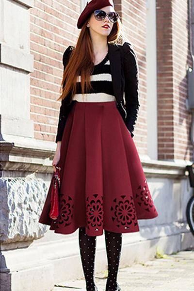 High Waist Pure Color Hollow Out Pleated Knee-length Skirt
