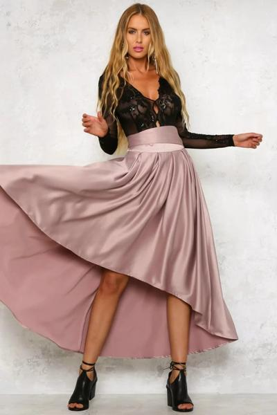 High Waist Pure Color Back Bowknot Irregular Long Skirt