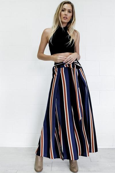 High Waist Striped Split Slim Wide Leg Long Pants
