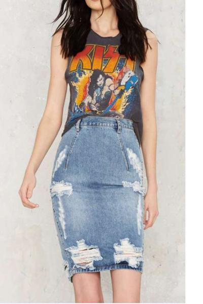 Pure Color Bodycon High Waist Slim Short Denim Skirt