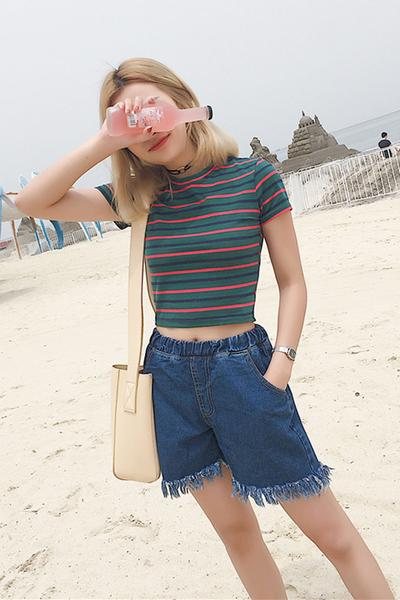 Pure Color Denim Tassel Casual Loose Shorts