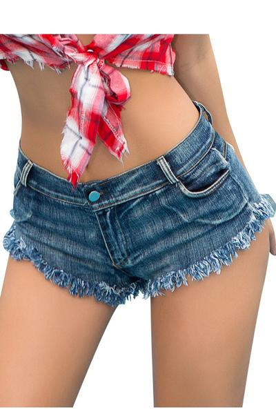 Low Waist Pure Color Tassel Denim Shorts