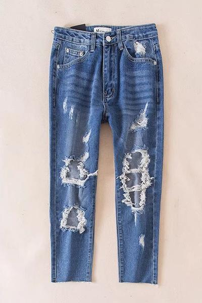 Rough Holes Zipper Slim Long Pants Jeans