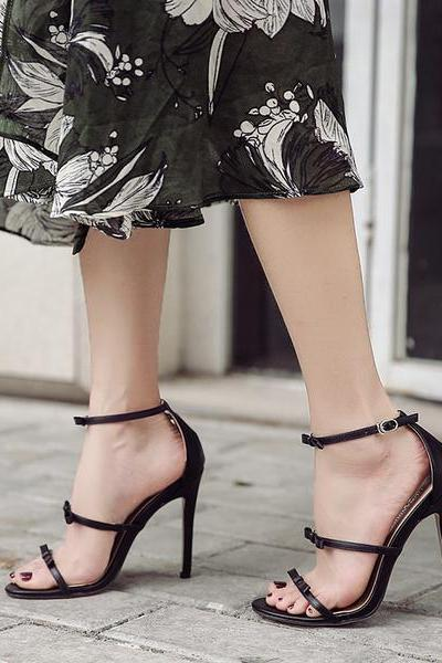Open Toe Triple Strap Bow Accent Stilettos, High Heels