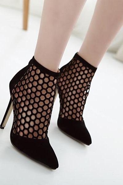 Cut Out Pointed Toe High Heel Short Boot Sandals