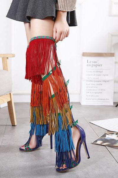 Colorful Tassels Supper High Stiletto Heels Over-knee High Heels Sandals