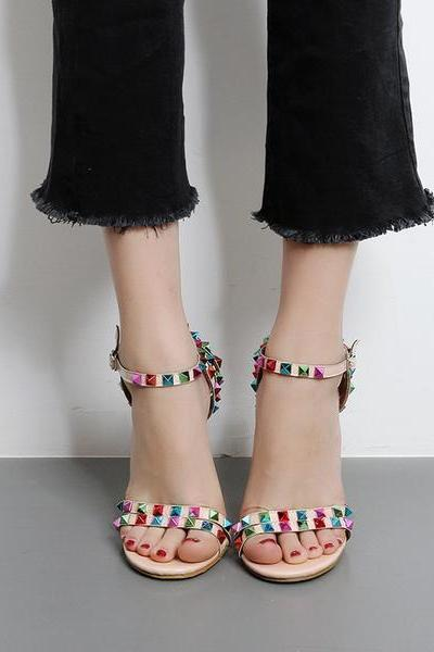 Colorful Rivets Ankle Wraps Stiletto High Heels Sandals