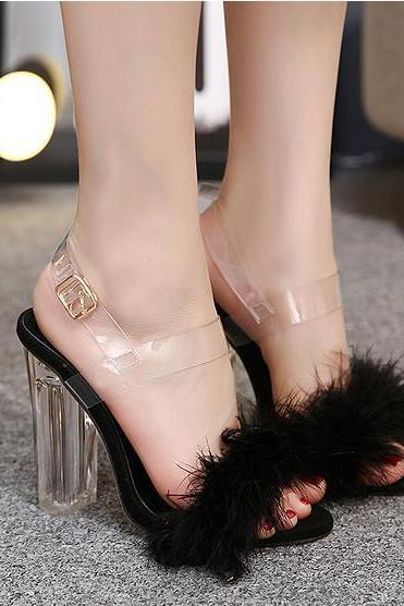 Faux Fur Decorate Transparent Chunky High Heels Sandals