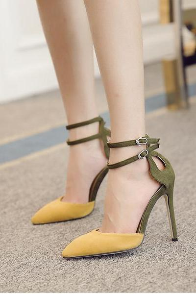 Faux Suede Colour Block Pointed Toe Double Ankle Straps High Heels