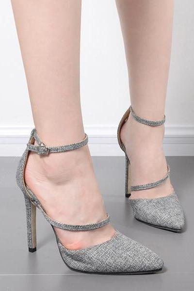 Pointed Toe Ankle Wraps Stiletto High Heels Party Shoes