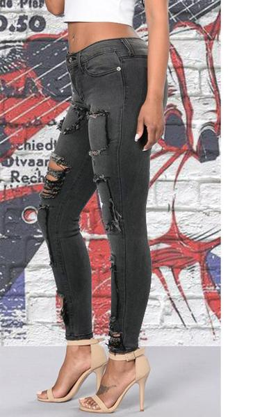 Cut Out Patchwork Low Waist Skinny Long Jeans Denim Pants