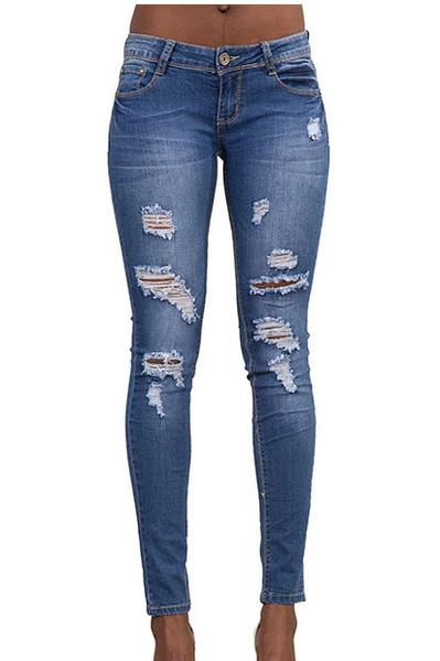 Solid Color Rough Holes Long Skinny Jeans Denim Pants