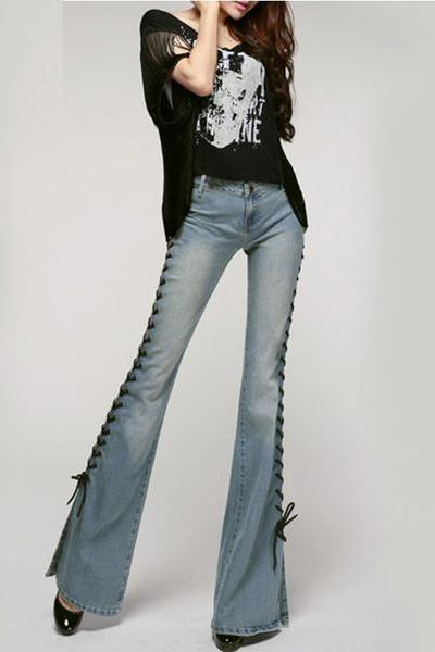 Straps Lace Up Slim Bell-bottomed Long Jeans Denim Pants
