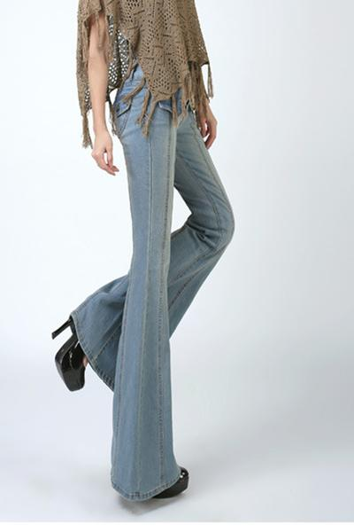 Big Trumpet Pure Color Slim Long Denim Pants Jeans