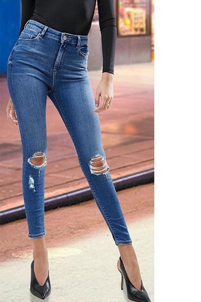 Pure Color Regular Waist Slim Hole Long Pants Jeans