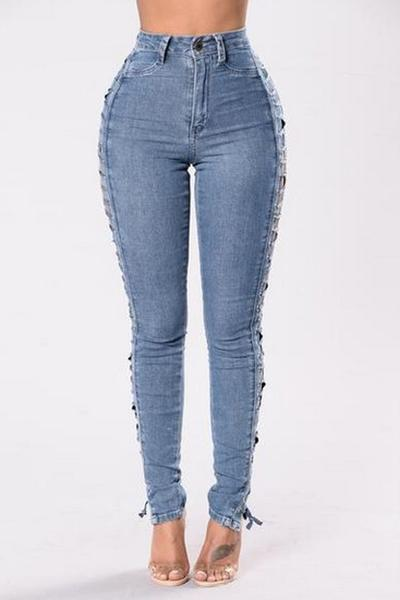 Straps Hollow Out High Waist Pure Color Long Skinny Jeans