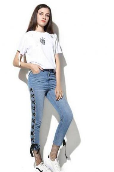 Side Lace Up Solid Color 9/10 Pencil Jeans