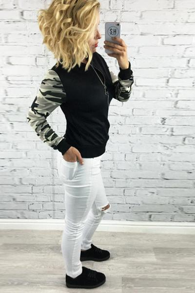 Camouflage Patchwork Zipper Scoop Short Coat Outwear