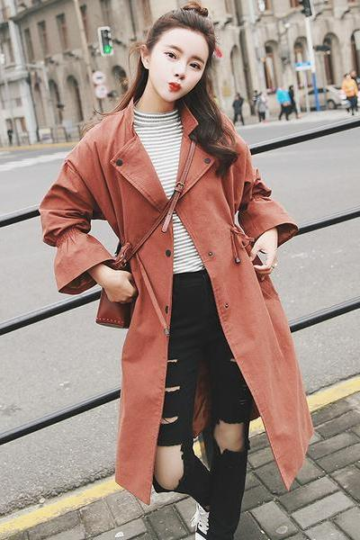Trumpet Sleeves Drawstring Lapel Loose Long Coat