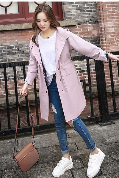 Simple Style Pockets Loose Long Hooded Coat