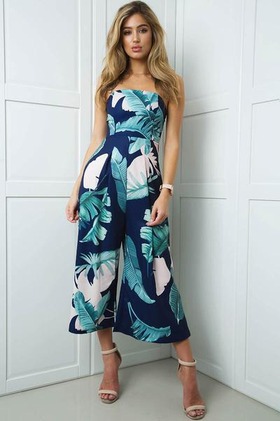 Print Strapless Sleeveless Ankle Length Jumpsuit