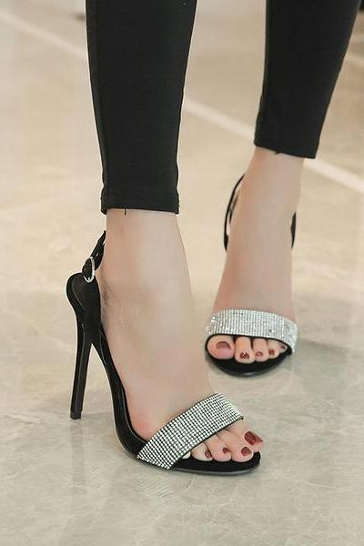 Shinning Rhinestone Open Toe Stiletto High Heels Prom Sandals Shoes