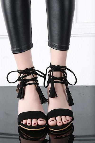 Open Toe Suede High Heel Sandals with Tassel Ankle Strap