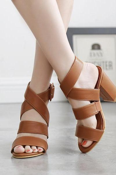 Open Toe Straps Ankle Wrap Chunky Heel Sandals