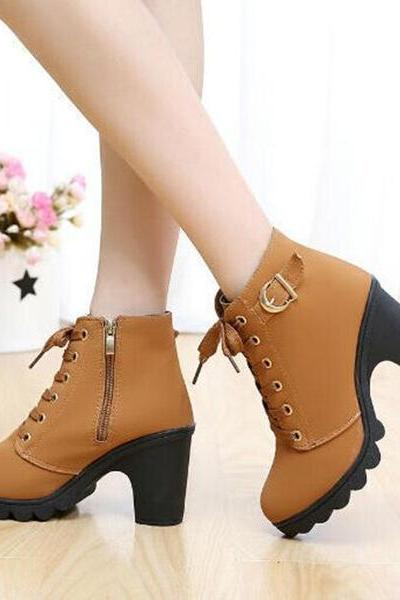 Platform Lace Up Chunky Heel Side Zipper Short Ankle Boots