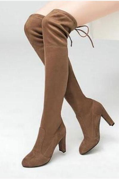 Faux Suede Rounded-Toe Over-The-Knee High Heel Boots