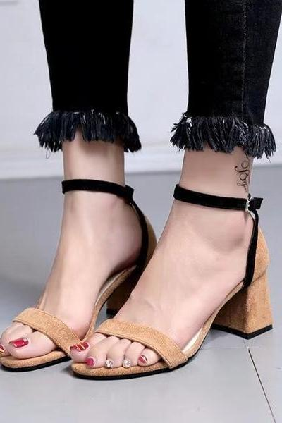 Chunky Heel Suede Open Toe Sandals with Slender Ankle Straps