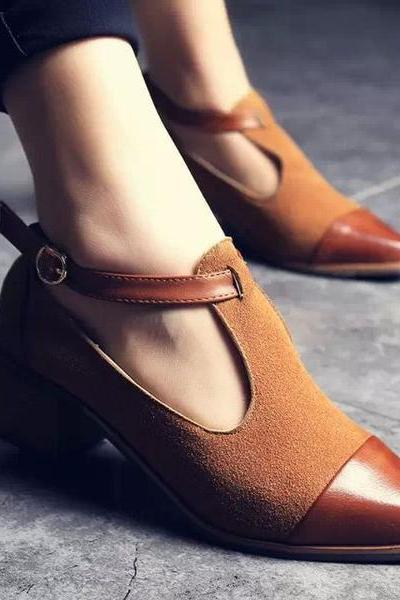 Pointed Toe Ankle Strap Leather and Suede Heeled Shoes