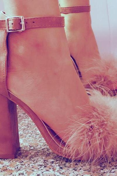 Faux Fur Decorate Open Toe Ankle Wrap Chunky High Heels Sandals