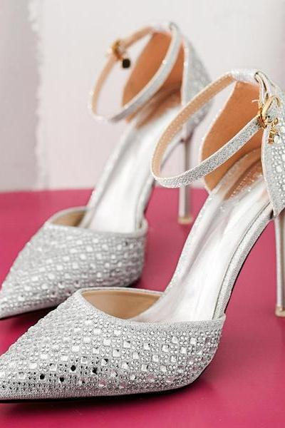 Rhinestone Decorate Ankle Wrap Pointed Toe Stiletto High Heels