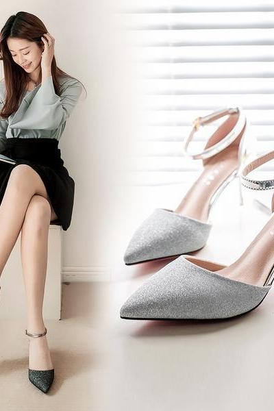 Glitter Embellished Pointed-Toe Ankle-Strap High Heel Stilettos