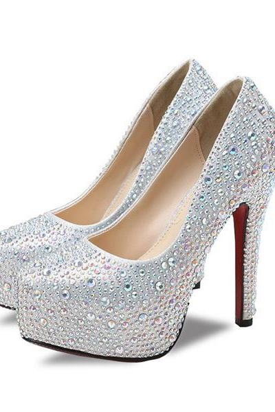 Crystal Embellished Stiletto Round Toe Pump, Bridal Heels
