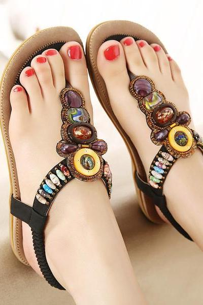Rhinestones Slip-on Ankle Wrap Flat Sandals