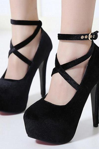 Platform Round Toe Straps Cross Ankle Wrap Stiletto High Heels