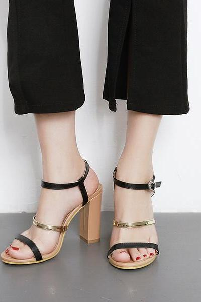 Open-Toe Strappy Chunky Heels