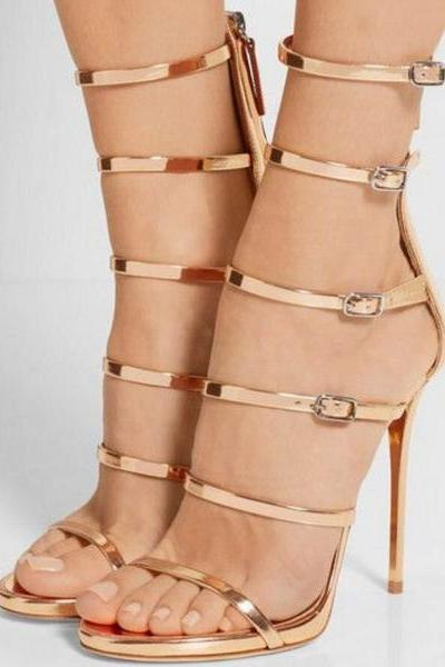 Metallic Open Toe High Heel Sandals with Adjustable Ankle Straps