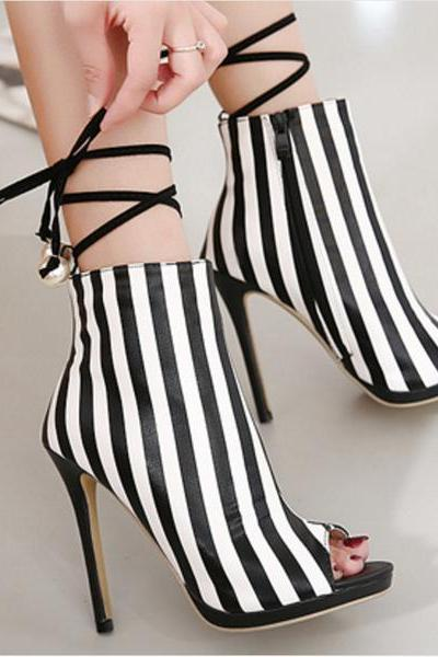 Striped Peep Toe Ankle Boots with Lace-up and Side Zipper Closure