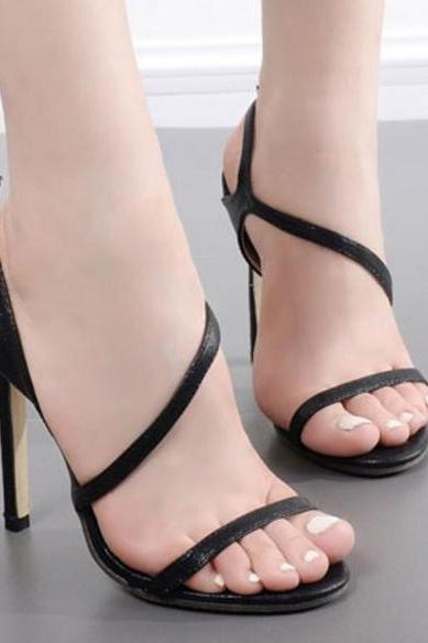 Open-Toe Asymmetrical Slingback Strap Stilettos, High Heels