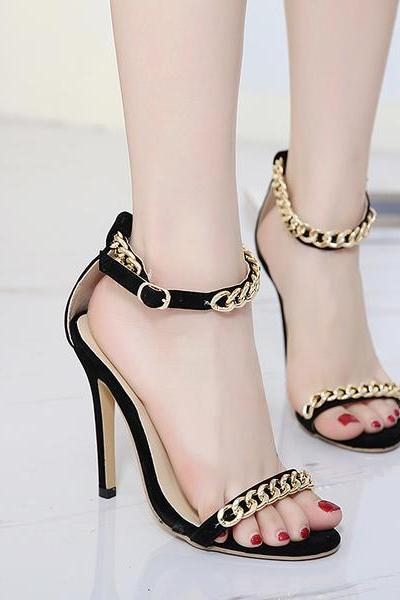 Black Open Toe High Heel Sandals with Ankle Straps Adorned with Gold Linked Chains