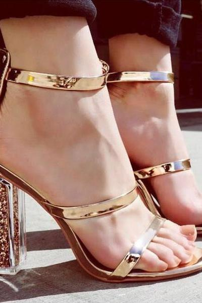 Transparent Glitter Filled Chunky Heel Sandals with Metallic Gold Straps