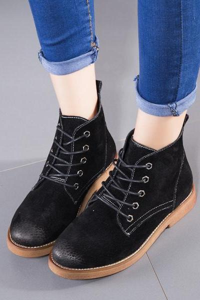 Round Toe Lace Up British Short Flat Martin Boots