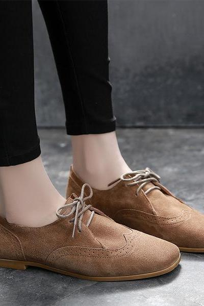 British Round Toe Lace Up Casual Flats