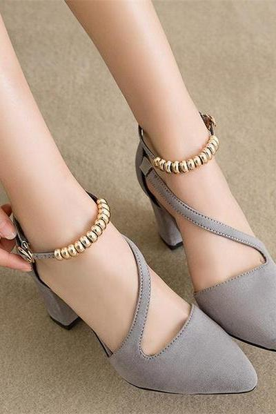 Pointed Toe Ankle Beadings Wrap Low Chunky Heels Party Shoes