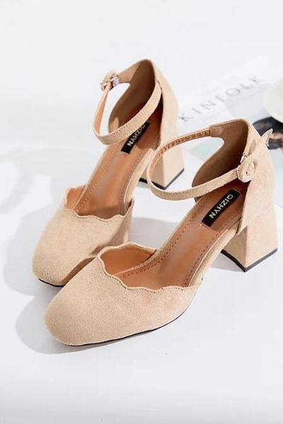 Low Cut Square Toe Ankle Wrap Low Chunky Heels